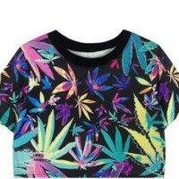 Colorful Maple Leaf Crop Tee for Summer