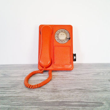 Vintage Orange Rotary Bean Bag Retro Tangerine Telephone