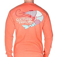 Preppy Shrimp Long Sleeve Pocket Tee in Salmon by Southern Fried Cotton