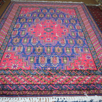 Size- 9.7 by 7.2 ft, Beautiful pink and blue Afghan rug hand made.