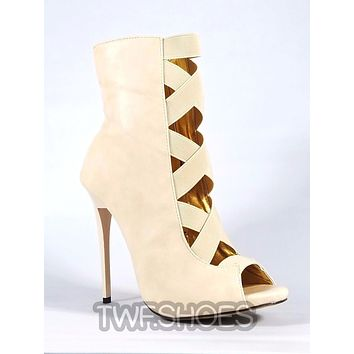 """MM Dioselin Nude Open Elastic Strap Ankle Boot 4.75"""" Stiletto Heels"""