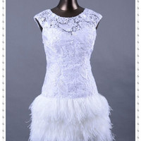 Short Sexy Feather Homecoming Dress, Cheap White Lace Prom Dress, Lace Homecoming Dresses 2013, Sexy Cocktail Dresses, Lace Evening Dresses
