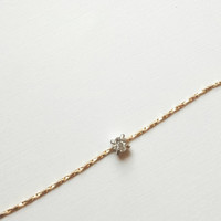 Tiny diamond necklace, tiny diamond choker, gold chain choker, gold fill choker, solitaire necklace, thin gold choker, Minimalist choker