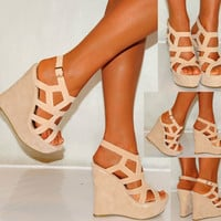 Women Nude Beige Tan Suede Wedges Wedges Summer Strappy Platforms High Heels