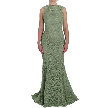 Dolce & Gabbana Green Floral Lace Sheath Maxi Dress