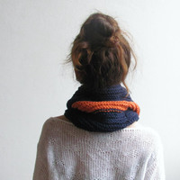 Scarf in orange and blue / gift unisex block color orange stripe / chunky scarf / unisex