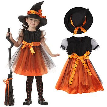 Witch Toddler Girl Halloween Fancy Dress Party Costume Outfit Clothes HAT Set Halloween Baby Gift