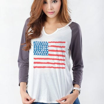 USA Flag Top American Flag Shirt 4th of July Old Glory Baseball Tee Shirt Jersey Hipster Tumblr Grunge Teenager Girl Gifts Womens Clothing
