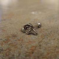 Cartilage ring, Silver Flower with surgical steel Barbell 16G, Helix ring, Ear lob, Tragus Ring, 16 Gauge 1.2 mm