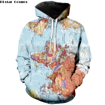 PLstar Cosmos Brand clothing 2018 New Fashion Hoodie world map 3d Print Men's women's casual hooded sweatshirt Drop shipping