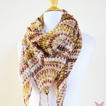 """Womens Scarf """"Sylvia"""" MULTICOLOR II with long tassels  - shawl cowl neckwarmer - accessories"""