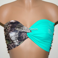 Camo and Mint Bandeau Top, Swimwear Bikini Top, Twisted Top Bathing Suits, Mint Spandex Bandeau Bikini