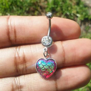 CZ mermaid scale heart belly button navel ring 14 gauge stainless steel body jewelry, 14g