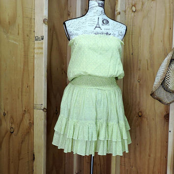Yellow cotton summer dress / S / strapless peasant dress / country music festival