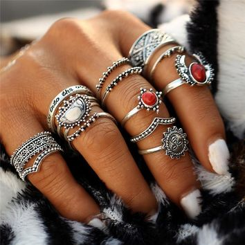 12pcs/set Vintage Tibet Lucky Red Antique Artificial Stone Moon Knuckle Midi Ring Set For Women Punk Boho Rings Gifts  0527