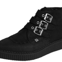T.U.K. 3 BUCKLE POINTED SUEDE CREEPER BOOTS - A8996