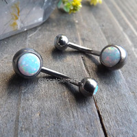 "Titanium White Opal Belly Button Ring 14g 3/8"" Silver Navel Piercing Rings Internal Body Jewelry VCH Barbells Curved Bar Gemstone Opals"