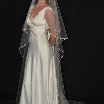 "Two-Tier 30""/90"" Chapel Veil with 1/8"" Flat Satin Ribbon Edge"