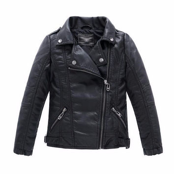 Baby Boys Faux Leather Jacket Kids Girls And Coats Spring Kids Jackets Boys Casual Black Solid Children Outerwear 2017