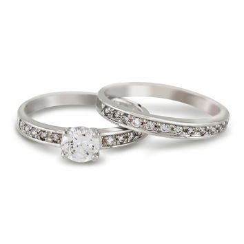 CZ Round Cut Wedding Ring Set