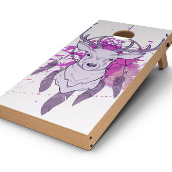Purple Deer Runner DreamCatcher CornHole Board Skin Decal Kit