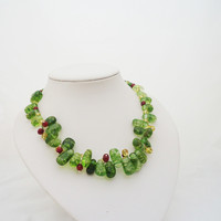 Green Quartz, Citrine and Carnelian Necklace, Quatz Necklace, Green Necklace