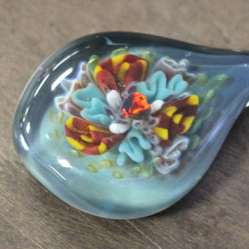 Opal Implosion Pendant . Heart Of The Sea . Lampwork Reef Implosion . Blown Glass Pendant