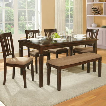 Home Elegance 2538-60 6 pc devlin collection espresso finish wood dining table set with upholstered seats