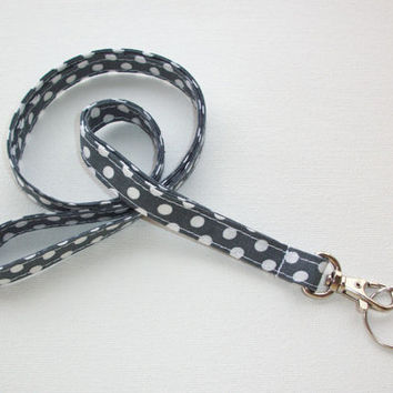 Lanyard ID Badge Holder - NEW THINNER design - White Polka Dots on gray - Lobster clasp and key ring