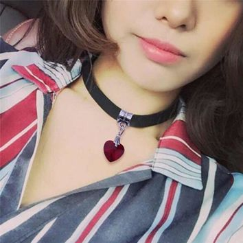 Romad Harajuku Holographic Choker Women Necklace Heart Laser Collar Chocker Hologram Pu Leather Choker Necklaces For Women R4