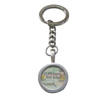 Ann Arbor Michigan Map Pendant Keychain