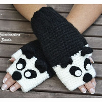 Panda Fingerless mittens , Fingerless mittens , orange gloves, animal gloves , knit gloves , Panda Mittens
