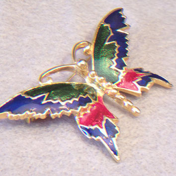Enameled Butterfly Brooch Colorful Pin Costume Jewelry Fashion Accessories For Her Nature Lover