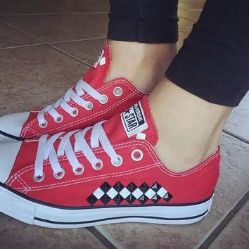 custom studded red checkered converse all star chuck taylors all colors sizes cus