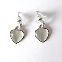 White Silver Heart Stone, Wedding Jewelry, Metal Silver Tone, Glass Stone