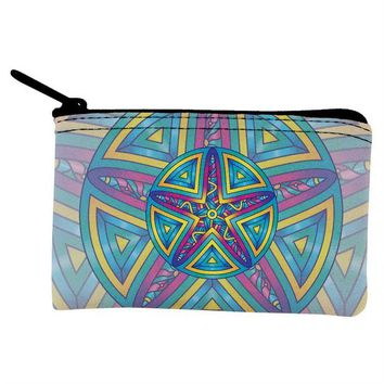 DCCKJY1 Mandala Trippy Stained Glass Starfish Coin Purse