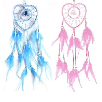 Heart-shaped Dream Catcher with Feathers Bead Wall Hanging Decoration Handmade Dreamcatcher Ornaments Mascot Gifts