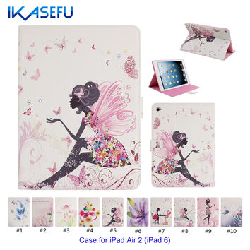 For iPad 6 Case Silicone Cover Floral Printed PU Leather Case for Apple iPad Air 2 iPad 6 Sleeve Stand Protective Shell