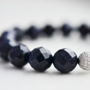 10mm Blue Goldstone Bracelet Grade A Gemstone Bracelet Blue Beaded Bracelet Pave Bracelet Galexy Bracelet Luxury Jewelry Sparkly Gifts