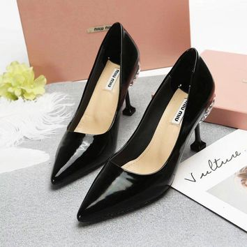 Prada Miu Miu Leather Pumps With Jewels Black - Best Deal Online