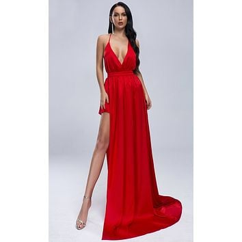 Midnight Heartbreak Red Satin Sleeveless Spaghetti Strap Backless Plunge V Neck High Side Slit Maxi Dress