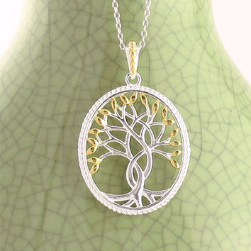 Oval Tree of Life Medallion Necklace with Gold Leaves in Sterling Silver