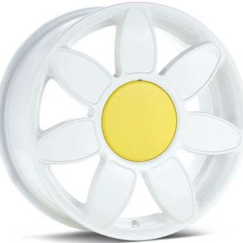 Hubcap Haven: ALYDAISY Volkswagen Beetle White Daisy Rim w/ Center Cap