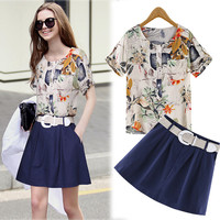 Off White Tropical Print Top and Dark Blue Mini Skirt
