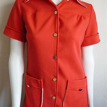 Vintage Women's 70's Blouse, Red-Orange, Short Sleeve, Button Up (S)
