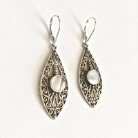 Elegant, Vintage, Filigree and Bezel Set  Mother of Pearl Center Accent, Dangle Earrings, Lever Back 925 Sterling Silver Drop Earrings