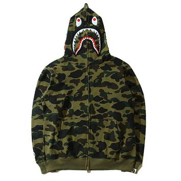 BAPE AAPE Autumn Winter Classic Popular Women Men Casual Camouflage Print Hooded Zipper Velvet Cardigan Sweatshirt Jacket Coat Sportswear Green