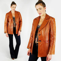 vtg 70s hippie indie hipster fight club brown glazed LAMBSKIN LEATHER skinny fit BLAZER spy jacket coat S M