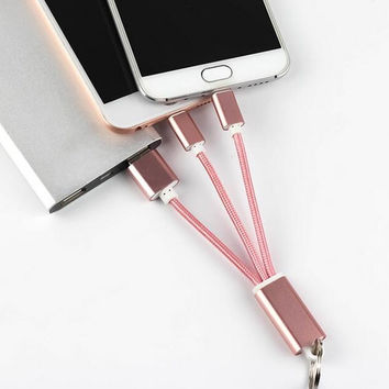 2in1 Keychain Nylon Line Metal Plug Micro USB Charging Cable Charger Cables for iPhone 6 6s Plus 5s iPad mini Android Samsung S6