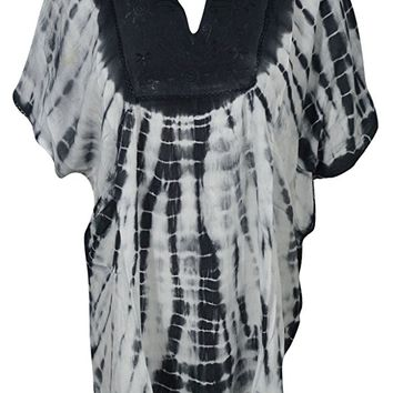 Womens Cover Up Top Tie Dye Neck Embroidered Bohemian Kimono Style Beach Caftan Blouse
